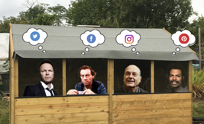 Pete Tong, Arthur Fowler, Jacques Chirac and Leon Haywood in a shed, thinking about social media
