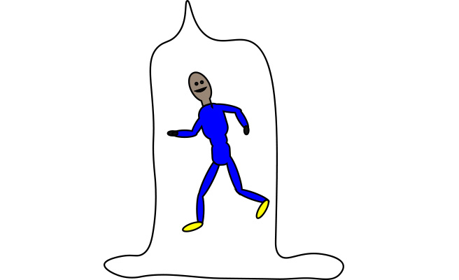 A cartoon man runs inside a condom