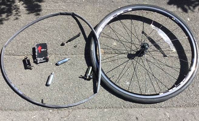 A bike wheel and inner tube