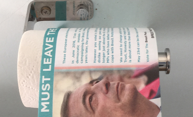 Brexit Party Leaflet Used As Toilet Roll