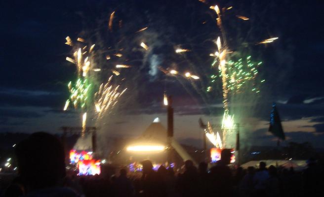 Fireworks at Glastonbury Festival