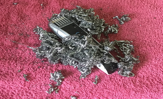 Grey pubic hair shavings