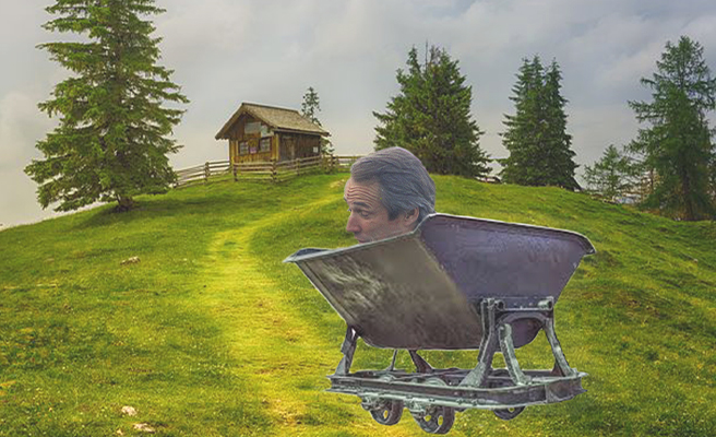 Alan Hansen rolls downhill in cart