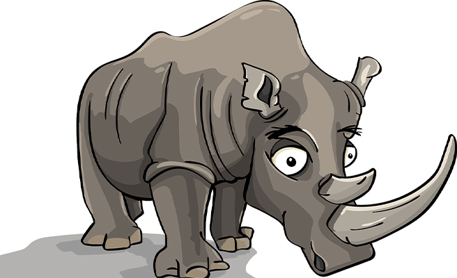 A cartoon rhinoceros