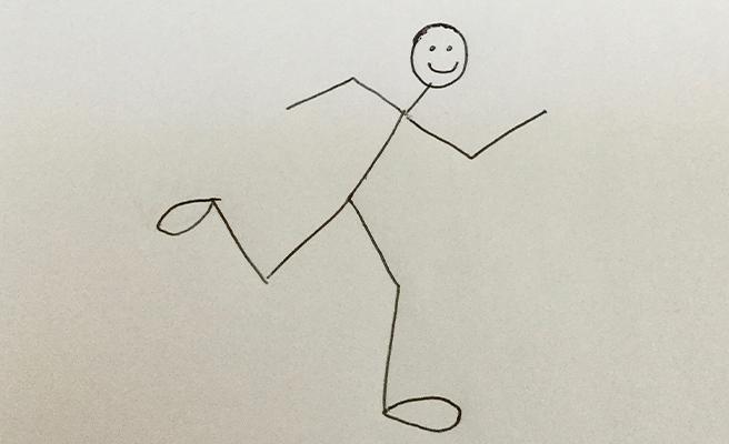 A stick man running