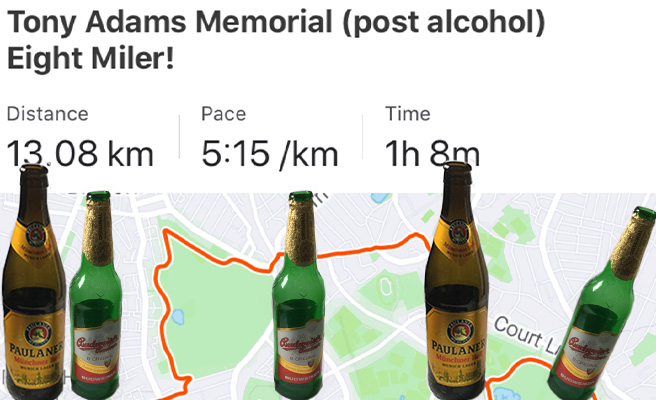 Five beer bottles and a Strava map
