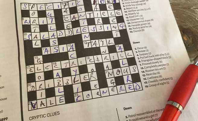 A completed crossword puzzle