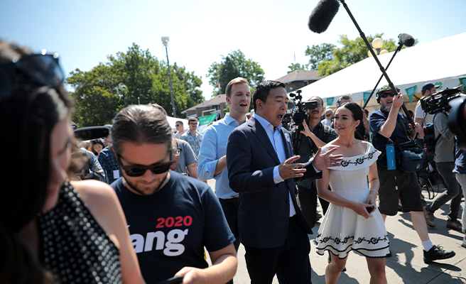 Andrew Yang campaigning