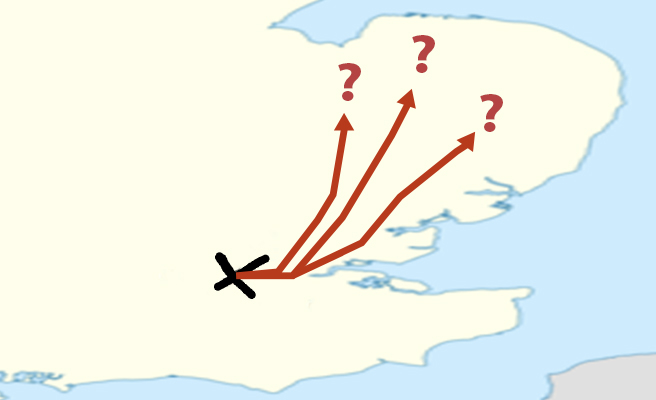 A map with possible cycle routes to East Anglia