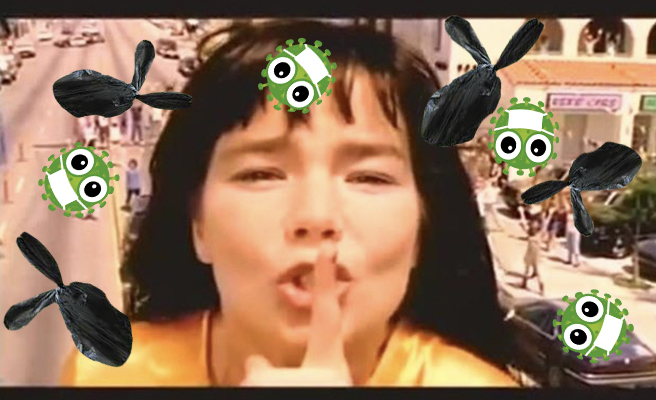 "Bjork sings ""It's All So Quiet"" while Coranaviruses and bags of poo fly around her"