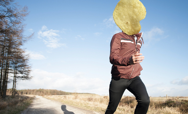 A crisp-headed man runs
