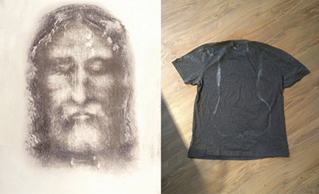 The Turin Shroud juxtaposed with a sweat-stained T-shirt