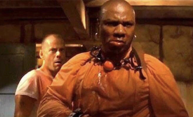Ving Rhames and Bruce Willis in a scene from Pulp Fiction